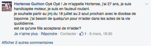 Extrait message Facebook