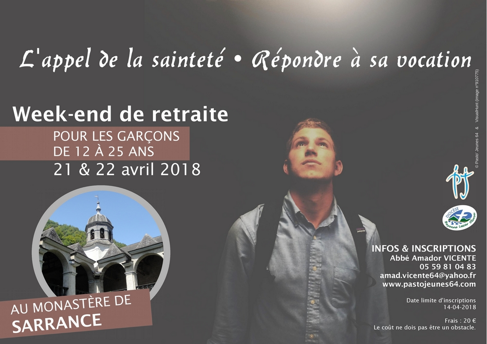 Affiche WE Retraite vocation garcons à Sarrance les 21, 22 avril 2018